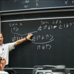 Teacher explains with blackboard